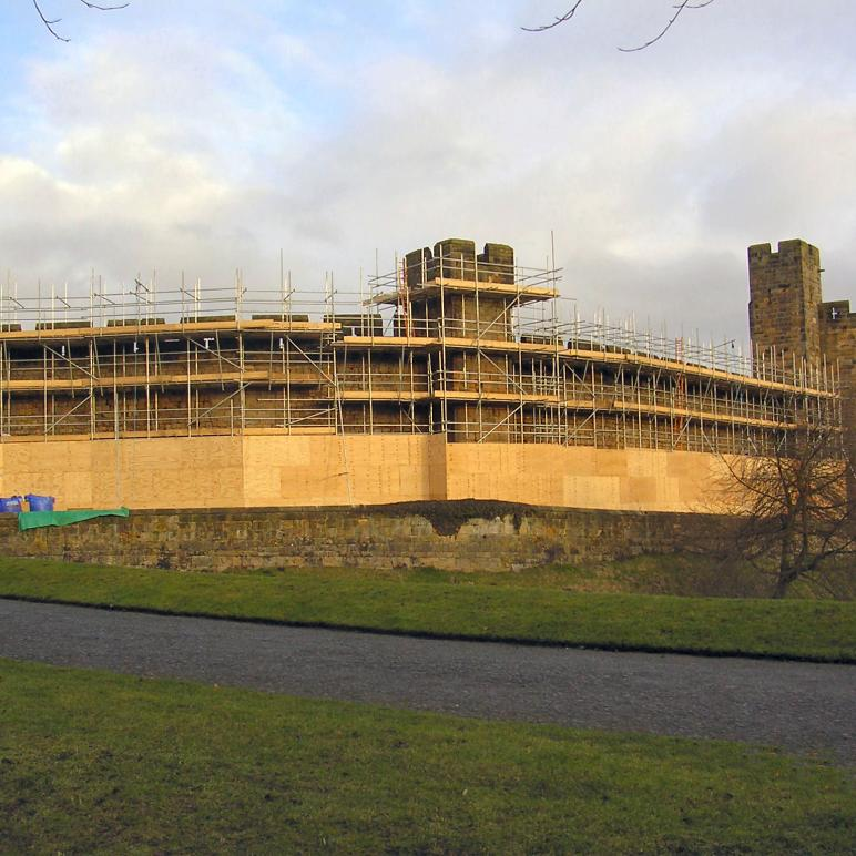 Scaffolding to the external curtain walls of Alnwick Castle